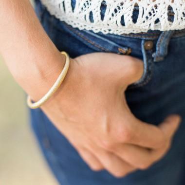 Bracelet jonc diamanté argenté, doré ou rosé