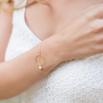 """""""Catia"""" Bracelet de mariée en argent, argent doré ou doré rose avec anneau et perle nacrée"""