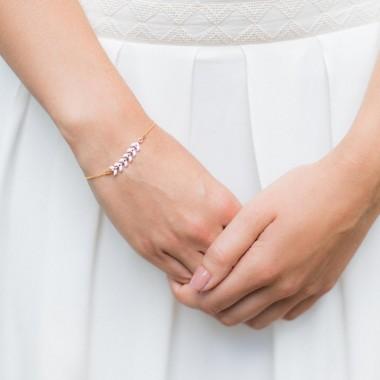 """Eva"" Bracelet  de mariée en argent avec chaîne épi émaillée"
