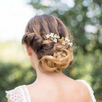 """""""Aurélia"""" Duo de peignes de mariée avec feuillages et fleurs"""