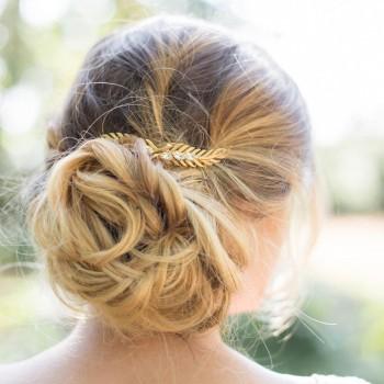 """""""Tina"""" Peigne de mariée feuilles et cristaux"""