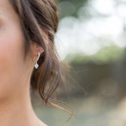 """""""Coralia"""" Crochets d'oreilles en argent coeurs en zirconium"""