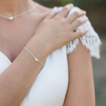 """Alea"" Bracelet en argent avec joli coeur en zirconium"
