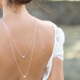 """""""Coralia"""" Collier bijou de dos en argent avec jolis coeurs en zirconium"""