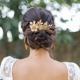 """""""Lorella"""" Peigne de mariée avec fleurs et feuillages"""
