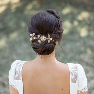 """""""Floria"""" Peigne de mariée estampe feuillage et fleurs en porcelaine"""