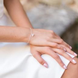 Bracelet témoin en argent, pendentif quartz rose et étoile zircon