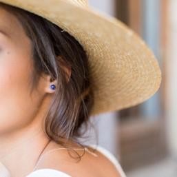 Clous d'oreilles en argent et perle en lapis lazuli