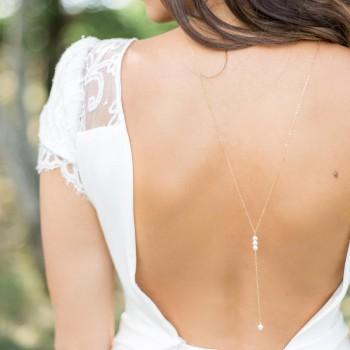 """""""Perla"""" Collier bijou de dos délicat avec perles nacrées"""