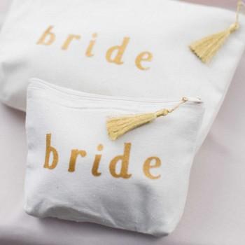 """Trousse en coton naturel inscription """"bride"""" petit modèle"""