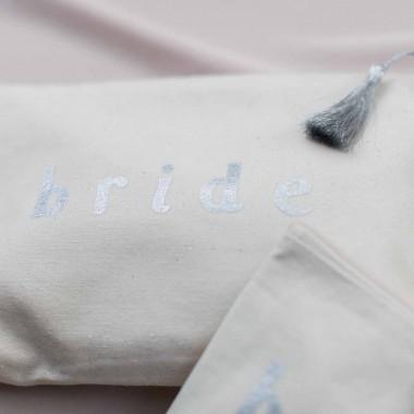 """Trousse en coton naturel inscription """"bride"""""""