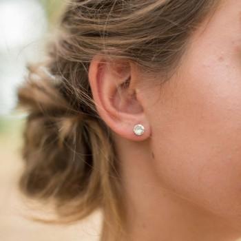 """""""Bruna"""" Boucles d'oreilles en argent et cabochon en cristal"""