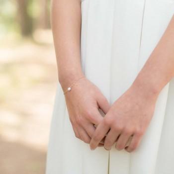 """""""Lidia"""" Bracelet de mariée avec perle d'eau douce ou perle nacrée."""