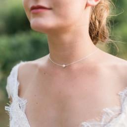 """""""Delfina"""" Collier de mariée en argent et perle nacrée"""