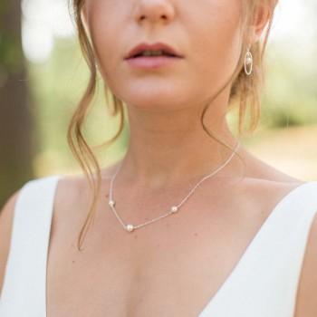 """""""Fedora"""" Collier de mariée avec trois perles nacrées"""
