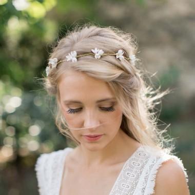 """""""Cirilla"""" Couronne de mariée multiples fleurs de porcelaine"""