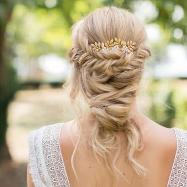 """""""Lina"""" peigne de mariée jolis feuillages et fleurs émaillées"""