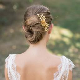 """""""Mina"""" Peigne de mariée avec branchages et fleur en laiton"""