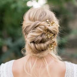 """""""Celina"""" Trio de peignes estampes fleuries pour coiffure de mariée"""