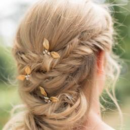 """""""Oana"""" Pics pour coiffure de mariée avec feuillages et fleurs émaillées"""