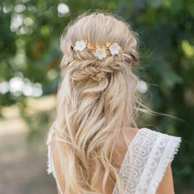 """""""Melinda"""" Trio de pics fleurs de porcelaine et feuillages pour coiffure de mariée"""