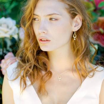 """""""Mona"""" Boucles d'oreilles de mariée avec pendentifs en zircon"""