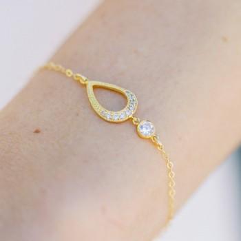 """""""Mona"""" Bracelet de mariée avec intercalaire et pendentif en zircon"""