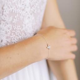 """""""Pamina"""" Bracelet de mariée avec intercalaire feuille en cristal"""