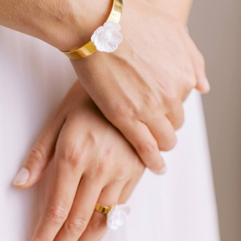 """Joa"" Bracelet manchette avec joli fleur de pavot"