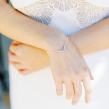 """""""Oriana"""" Bracelet de mariée intercalaire coeur en zircon"""