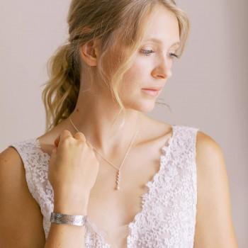 """Davina"" Collier de mariée avec joli pendentif épi et strass"