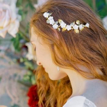 """""""Jona"""" Ornement pour coiffure de mariée branchages et fleurs"""