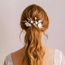 """""""Alia"""" Ornements coiffure de mariée avec feuillages et fleurs en laiton et porcelaine"""