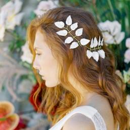 """""""Clara"""" Ornements pour coiffure de mariée feuilles en porcelaine"""
