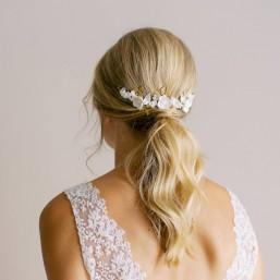 """""""Marcella"""" Ornement de coiffure mariée jolis feuillages et fleurs délicates"""