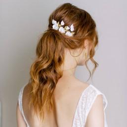 """""""Tamara"""" Trio de pics fleuris pour coiffure de mariée"""