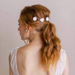 """""""Manoa"""" Barrettes pour coiffure de mariée fleurs de pavots"""