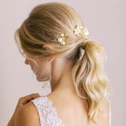 """""""Mila"""" Barrettes pour coiffure de mariée fleurs dentelées en laiton doré"""