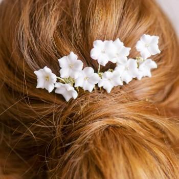 """""""Lilia"""" Peigne de mariée fleurs de porcelaine"""