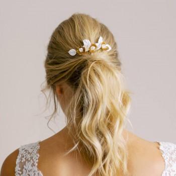 """""""Elina"""" Peigne de mariée feuillages et fleurs"""