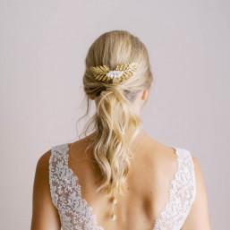 """""""Vanina"""" Peigne de mariée grand feuillage et jolies roses en porcelaine"""
