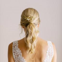 """""""Lisa"""" Peigne de mariée jolis feuillages et perles nacrées"""