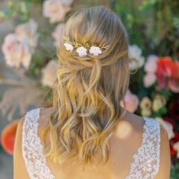 """Maelia"" Trio de pics et peigne fleuris pour coiffure de mariée"