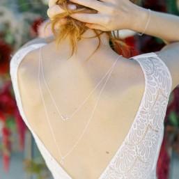 """""""Oriana"""" Collier bijou de dos précieux avec pendentifs zircon"""
