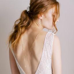 """Anniela"" Collier bijou de dos précieux intercalaires et pendentifs en zircon"