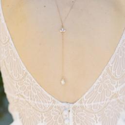 """""""Pamina"""" Collier de mariée avec bijou de dos et pendentifs en cristal"""