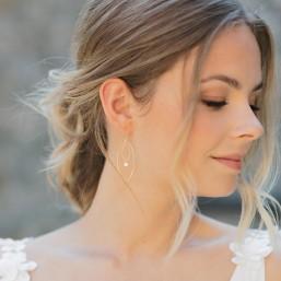 """""""Angelina"""" Boucles d'oreilles de mariée pendentifs ovales et zircons"""