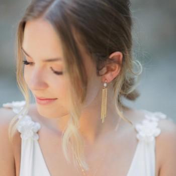"""""""Alina"""" Boucles d'oreilles avec pendentif chaîne à franges et perle d'eau douce"""