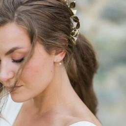 """""""Camelia"""" Boucles d'oreilles cercle avec perle nacrée"""