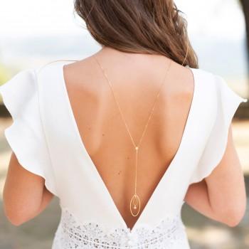 """Angelina"" Collier de mariée bijou de dos avec pendentif ovale et zircon"